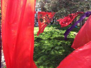 Labyrinths. Fabric, rope, cloths pins.